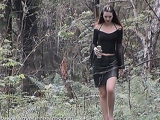 young polish girl fucks with a dog in the woods